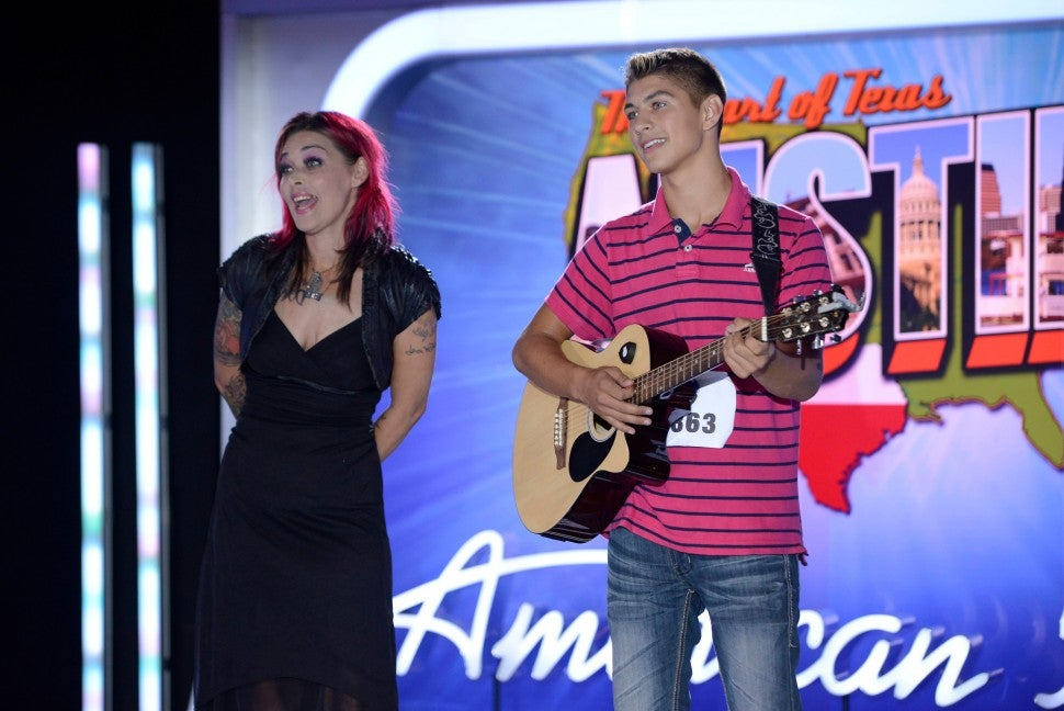 Contestants Tristen Langley (R) and his mother, former contestant Nikki McKibbin, audition in front of the judges on AMERICAN IDOL XIII airing Thursday, Jan. 16, 2014 (