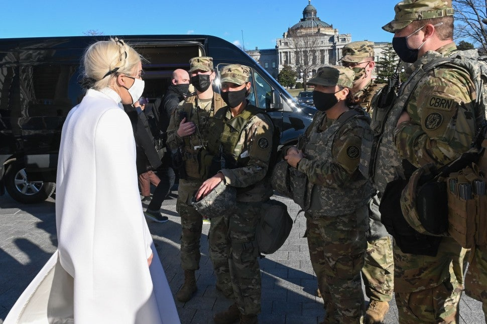 Lady Gaga and national guardsmen