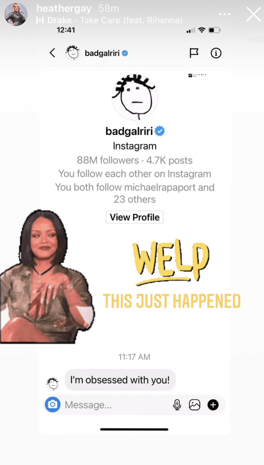 Rihanna sent 'Real Housewives' star Heather Gay a DM on Instagram.