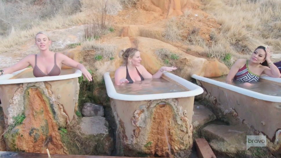 Whitney Rose, Heather Gay and Jen Shah enjoy an outdoor spa day on 'The Real Housewives of Salt Lake City.'
