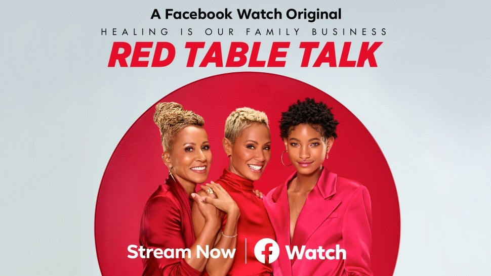 Red Table Talk art with Adrienne Banfield-Norris, Jada Pinkett Smith and Willow Smith.