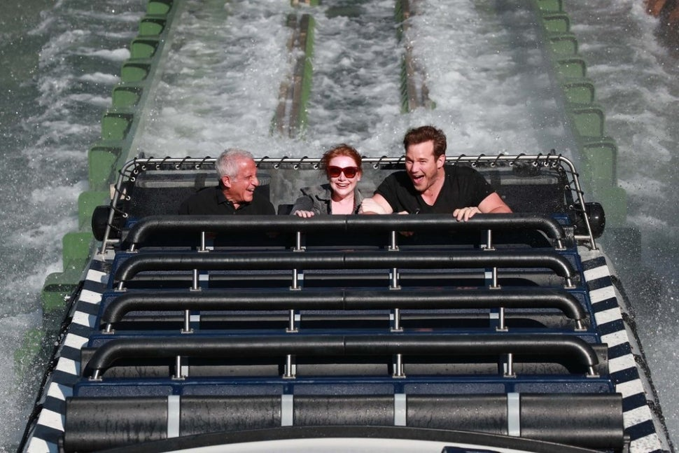 Ron Meyer, Bryce Dallas Howard and Chris Pratt (showing his 'fear face').