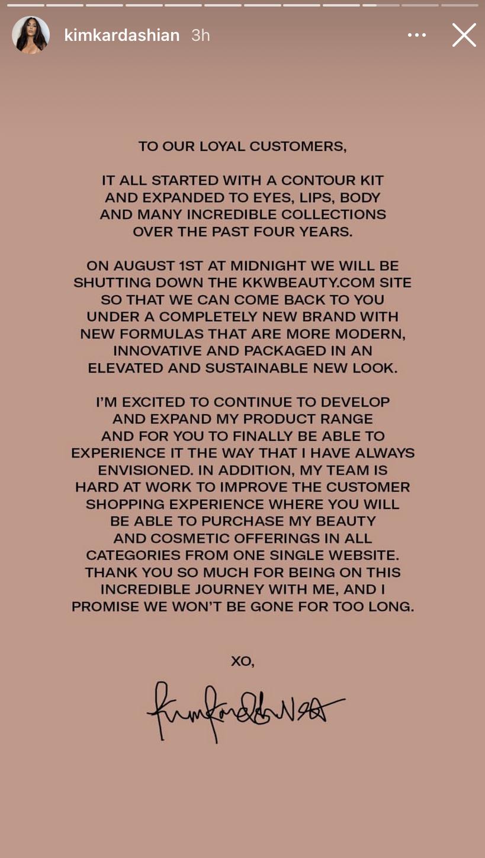 Declaración de belleza de KKW