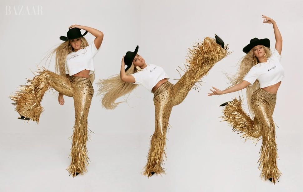 Portada del icono de Harper's Bazaar de Beyoncé Lands