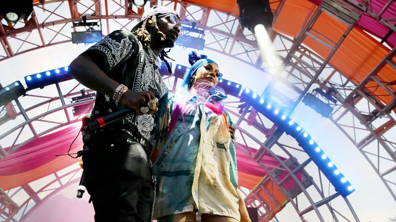 Cardi B and Offset Share a Big Kiss While Performing at Revolve Festival