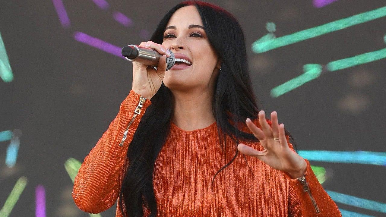 Kacey Musgraves Dazzles In Orange Fringe Dress Next to Giant Disco Ball at Coachella 2019