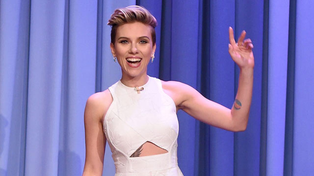 Scarlett Johansson Debuts Rib Cage Tattoo on 'Tonight Show'