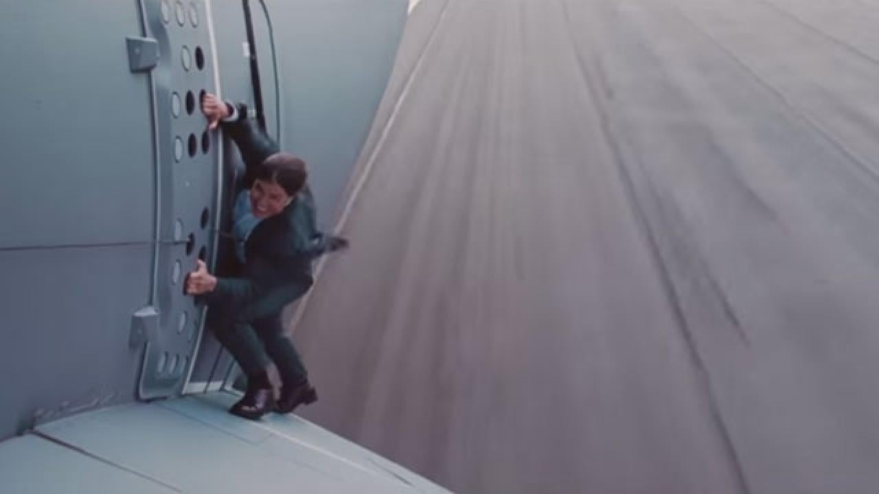 Watch Tom Cruise Film His Crazy Mission Impossible Plane Stunt I M Actually Scared S Tless Entertainment Tonight