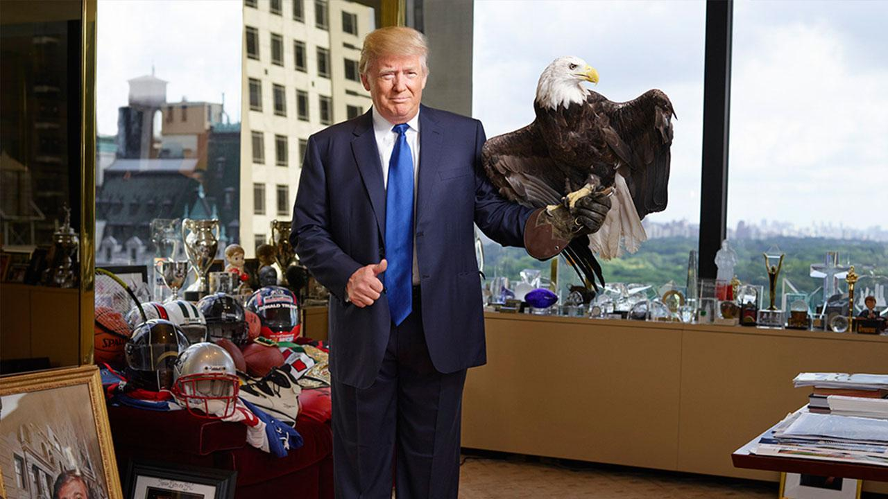 Donald Trump Poses With Bald Eagle For Time Magazine