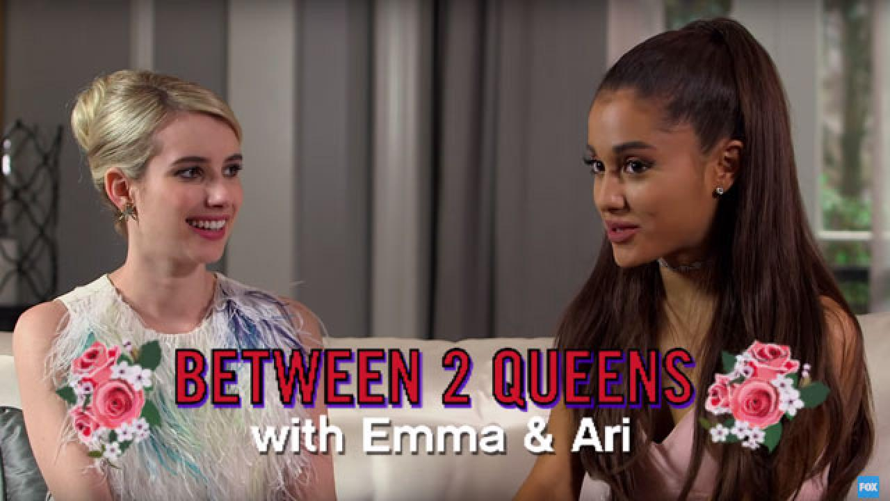 Exclusive Scream Queens Ariana Grande Emma Roberts Confess Their Celebrity Crushes And So Much More Entertainment Tonight