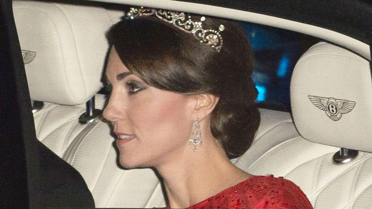 Kate Middleton Wore A Tiara And Glittering Red Dress For