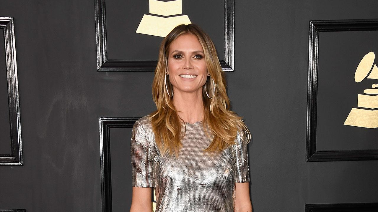 Heidi Klum Wears Shortest Dress Ever At Grammys Shows Off