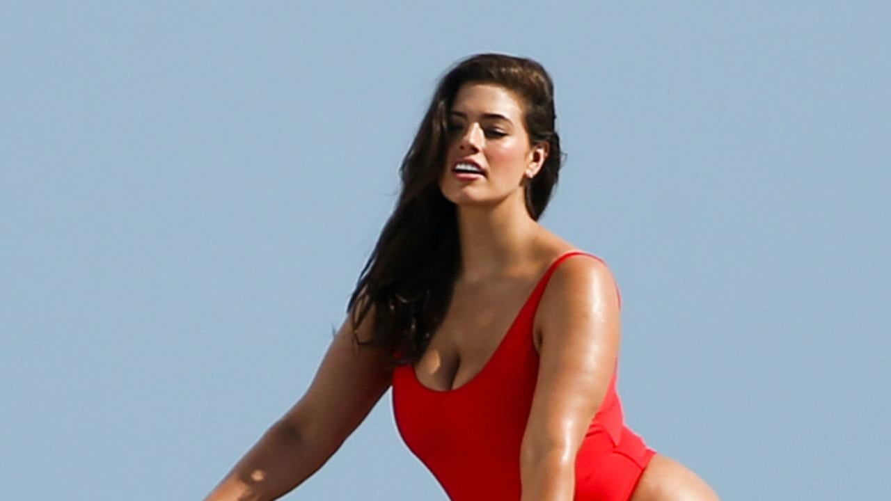 Ashley Graham Sports Sexy Red One Piece For Baywatch