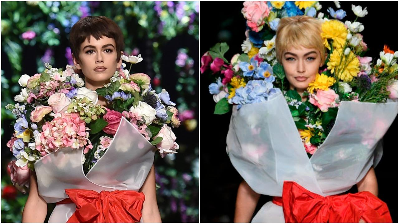 Kaia Gerber And Gigi Hadid Flaunt Their Flower Power At Moschino Fashion Show Long Room