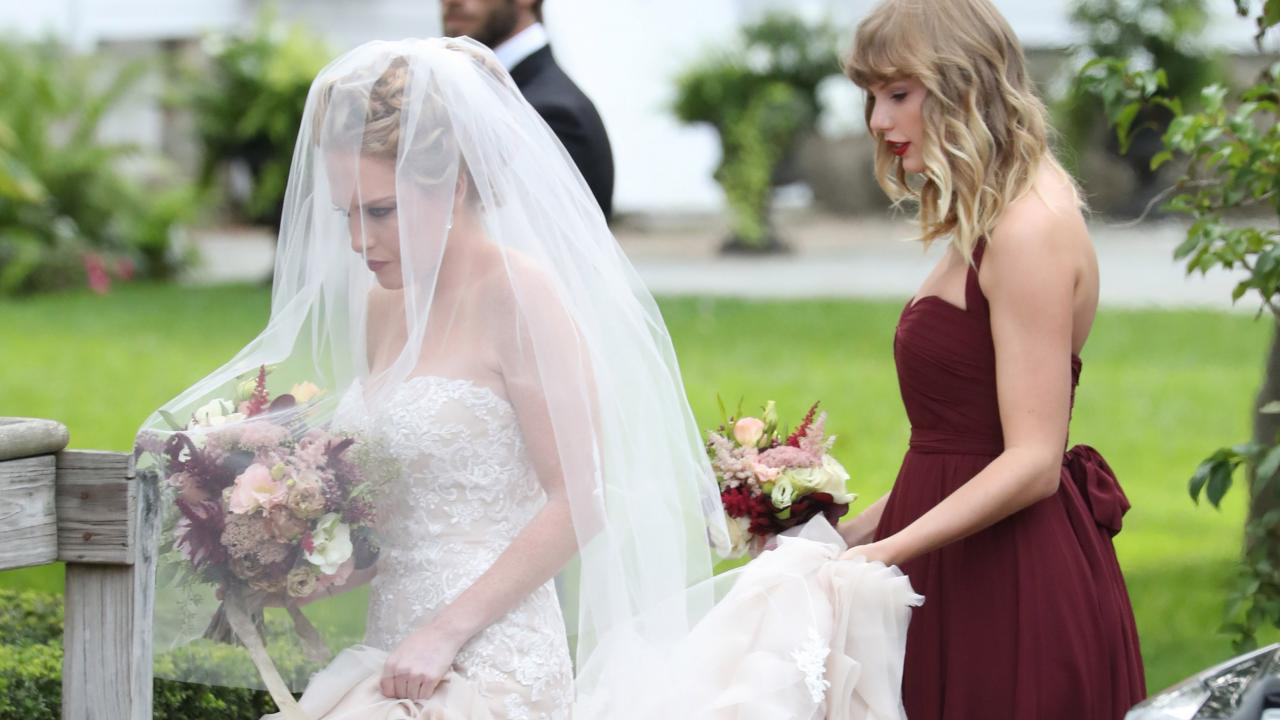 taylor swift wedding dress. taylor swift looks stunning as a bridesmaid for bff abigail anderson\u0027s wedding -- see the pics! | entertainment tonight dress