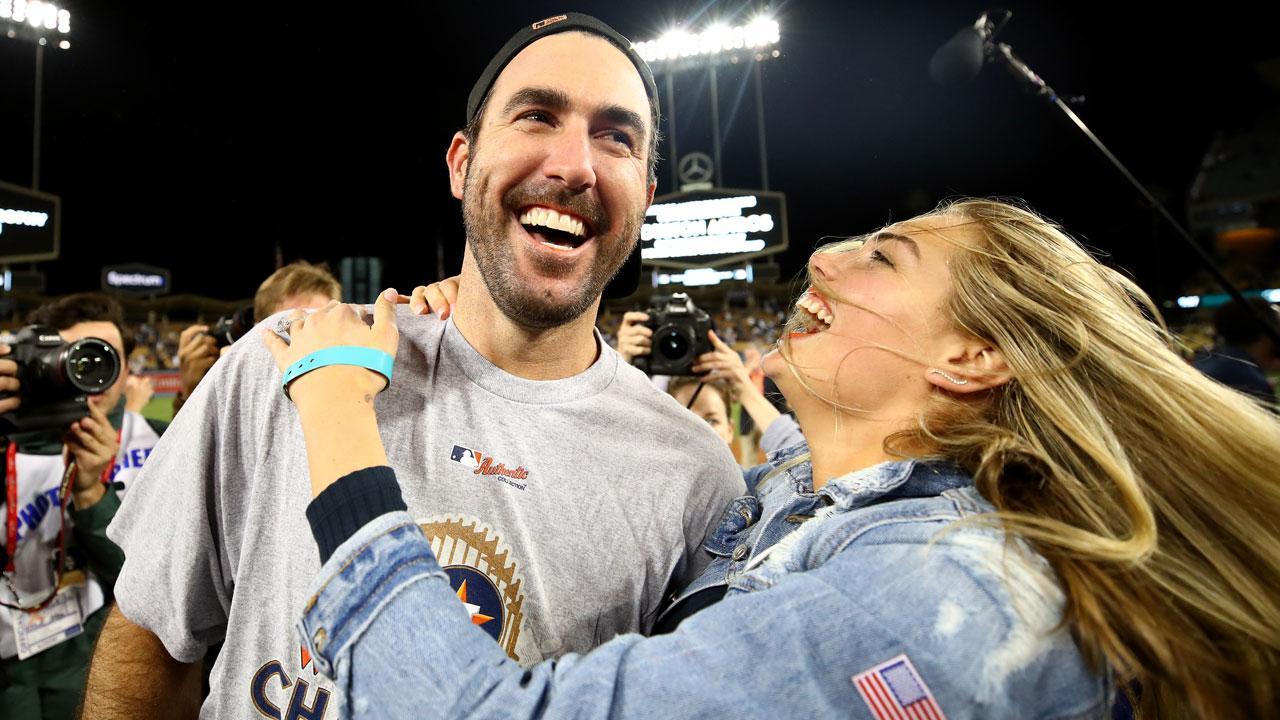 Kate Upton Plants Huge Kiss on Fiance Justin Verlander After Houston Astros' World Series Win ...