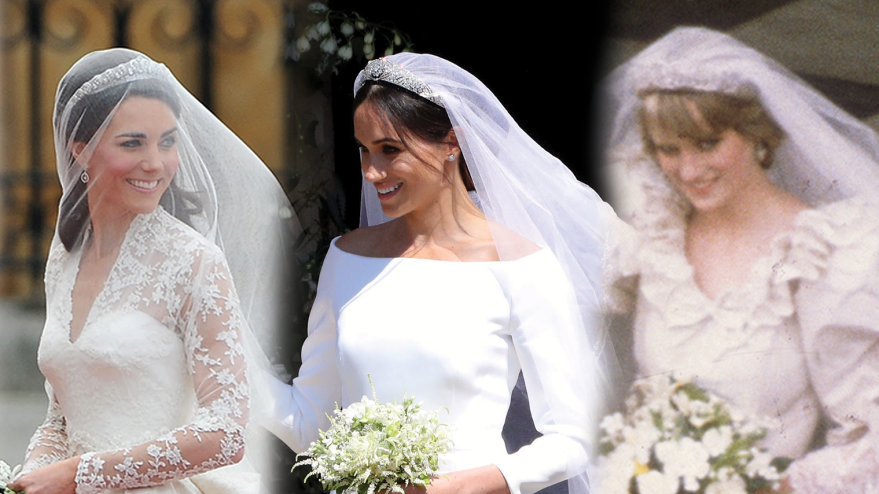 Meghan markle kate middleton and princess diana what all their meghan markle kate middleton and princess diana what all their royal wedding looks have in common entertainment tonight junglespirit Images