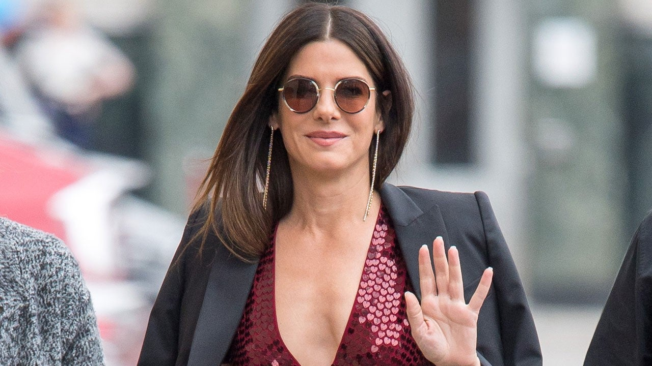 Sandra Bullock Stuns In Sequined Jumpsuit While Promoting