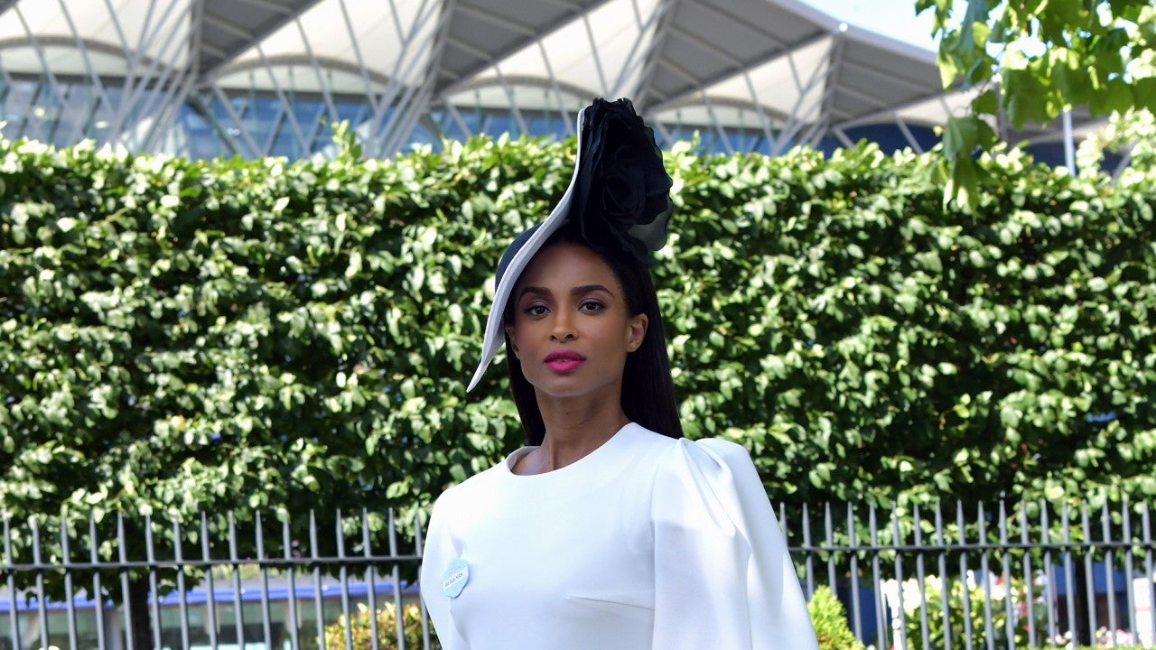 Ciara Looks Like a Royal in an Elegant White Dress and Hat at the Ascot Racecour...