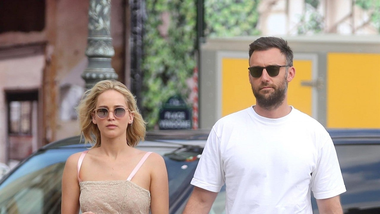 Jennifer Lawrence Holds Hands With Boyfriend Cooke Maroney Wearing a Stylish Pin...