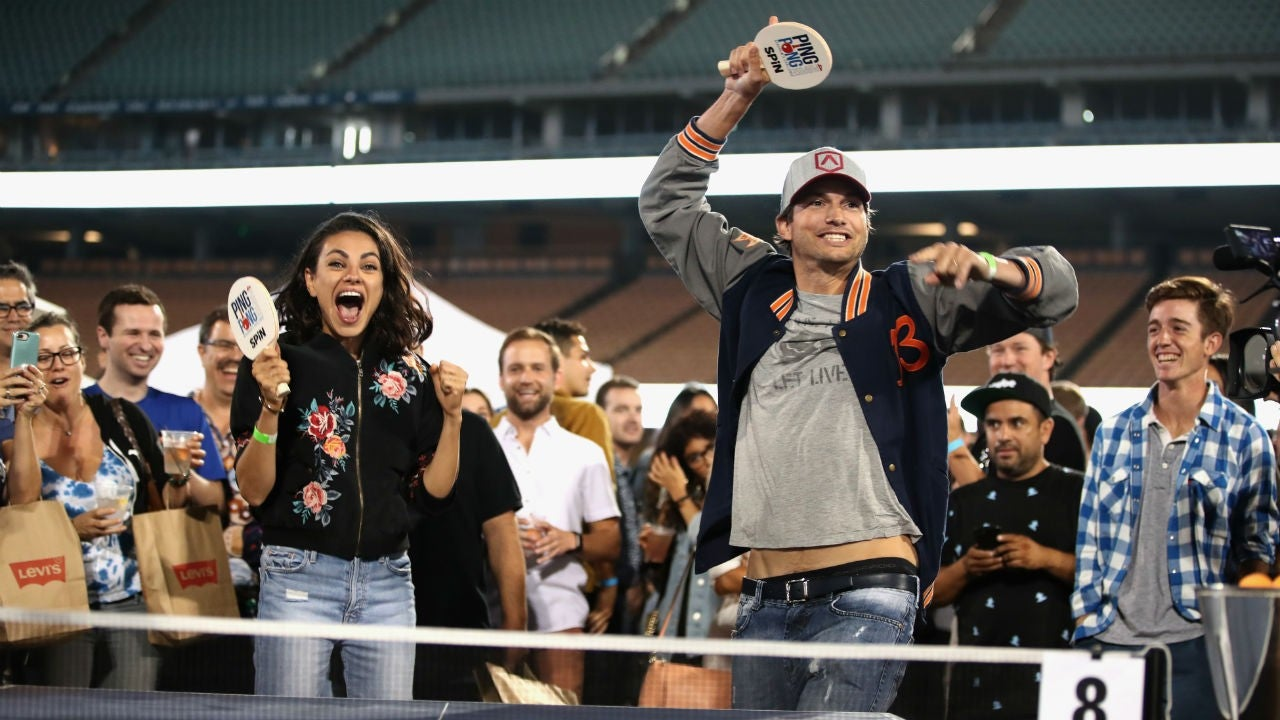 Mila Kunis and Ashton Kutcher Get Extremely Competitive at Charity Ping Pong Match | Entertainment Tonight