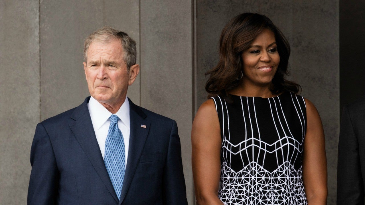 Former President George W. Bush Shares Candy With Michelle Obama at John McCain'...