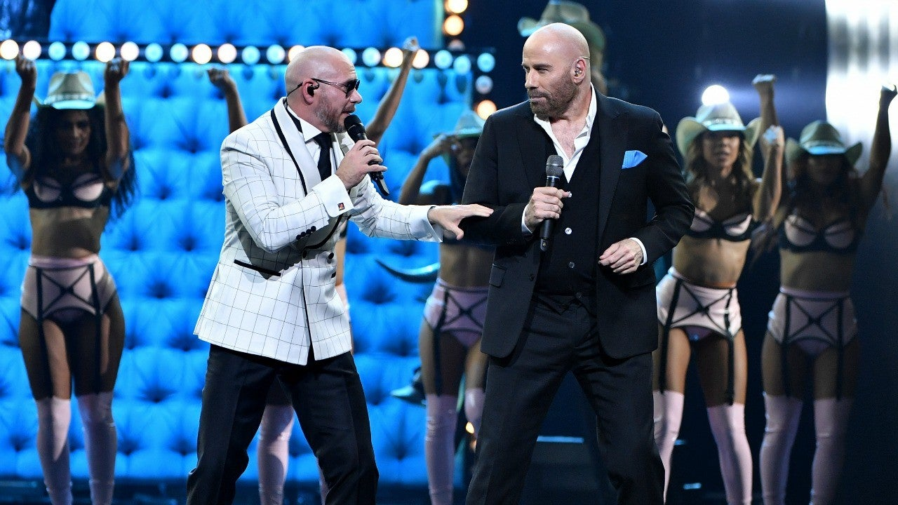 John Travolta Sings and Dances With Pitbull at Premio Lo Nuestro