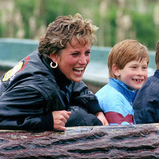 Diana Princess Of Wales, Prince William & Prince Harry Visit The 'Thorpe Park' Amusement Park