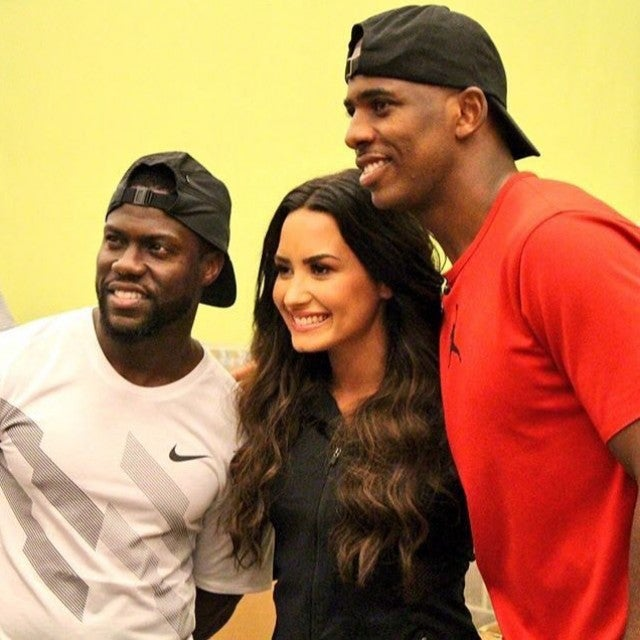 Kevin Hart Demi Lovato and Chris Paul at Houston Food Bank