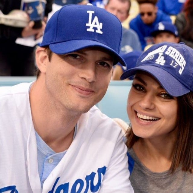 Ashton Kutcher and Mila Kunis - World Series game 6