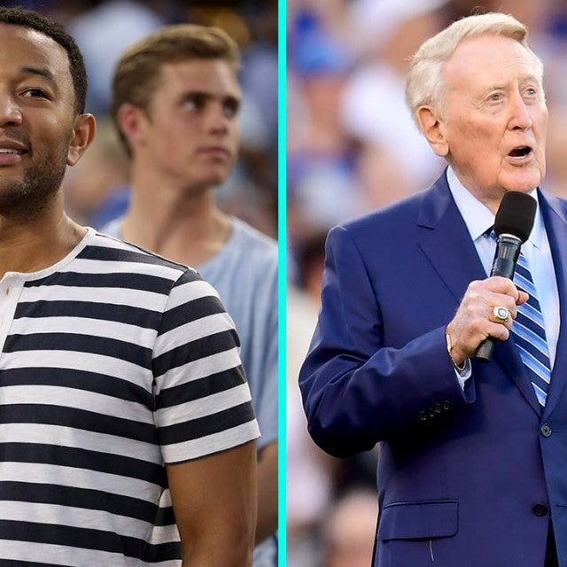 John Legend and Vin Scully at Game 2 of the World Series at Dodger Stadium