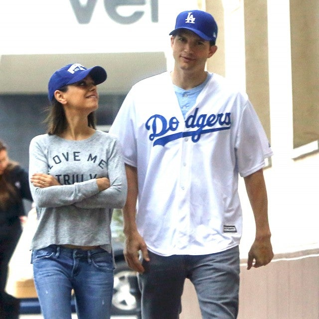 Mila Kunis and Ashton Kutcher in Dodger blue