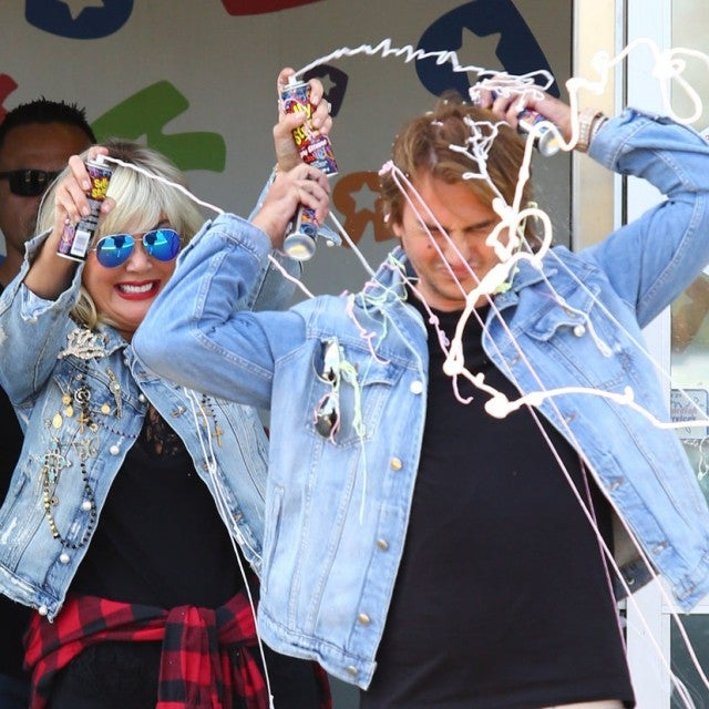 "Kris Jenner and Jonathan Cheban having a silly string fight at Toys ""R"" Us"