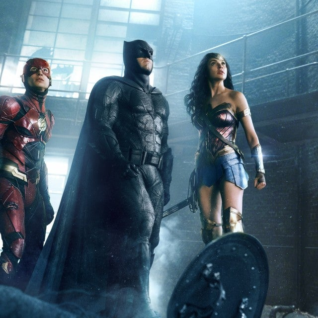 Ezra Miller, Ben Affleck, Gal Gadot in 'Justice League'