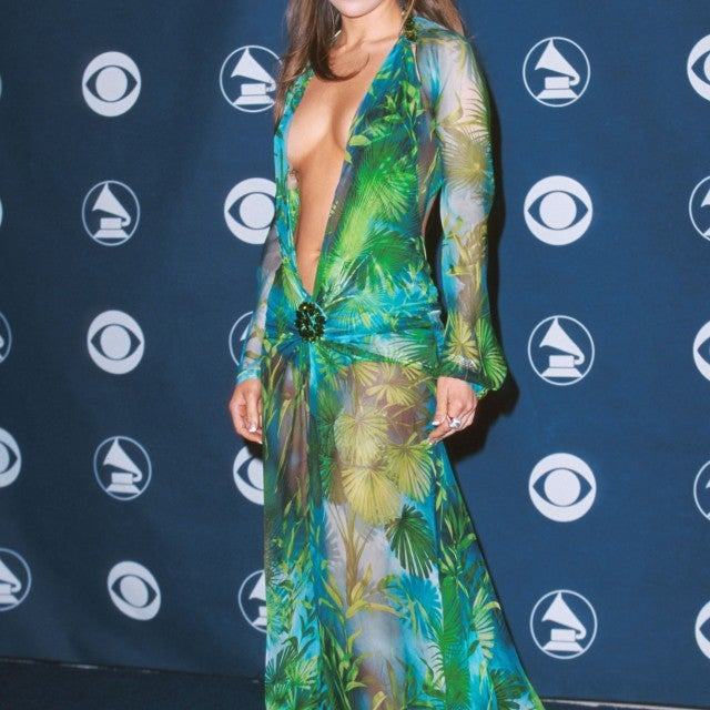 Jennifer Lopez at Grammys in Versace dress