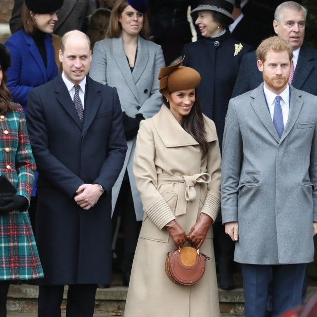 Princess Beatrice, Princess Eugenie, Princess Anne, Princess Royal, Prince Andrew, Duke of York, Prince William, Duke of Cambridge, Catherine, Duchess of Cambridge, Meghan Markle and Prince Harry attend Christmas Day Church service