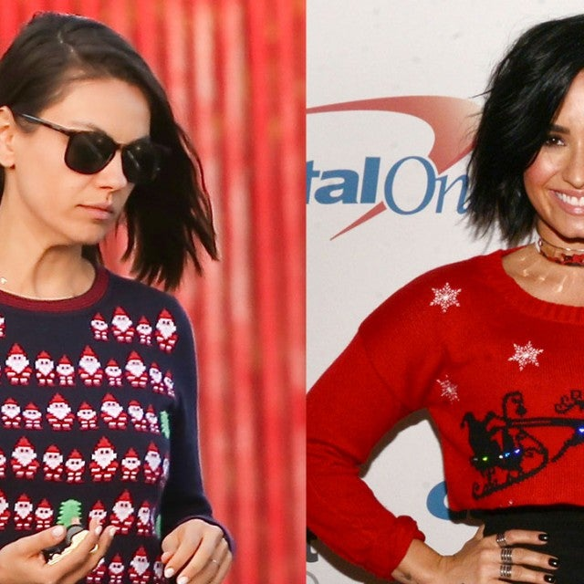 Mila Kunis and Demi Lovato - ugly christmas sweaters