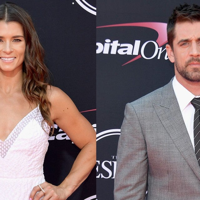 Danica Patrick and Aaron Rodgers at 2017 ESPYs - split pic
