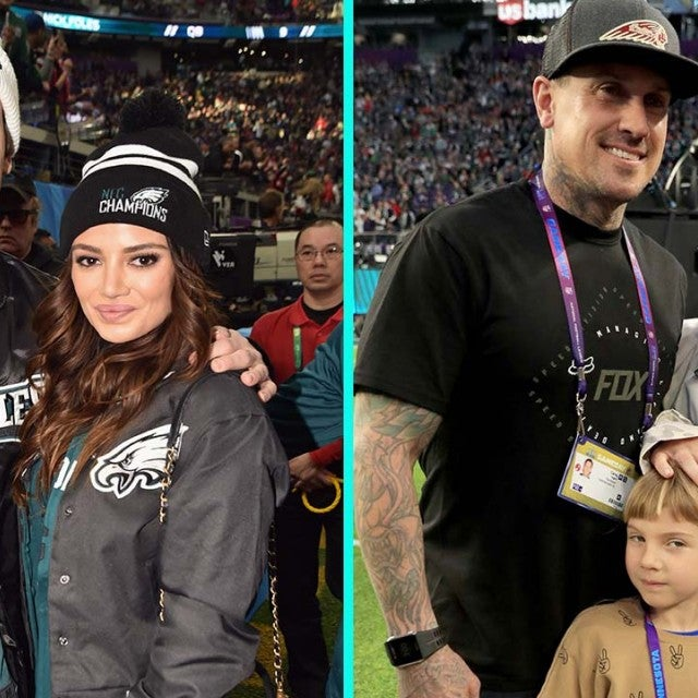 Miles Teller, Keleigh Sperry, Carey Hart and Pink at the Super Bowl.