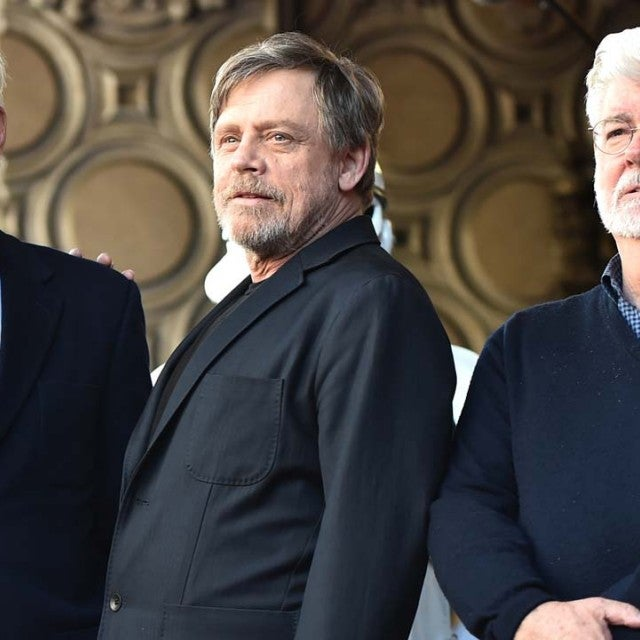 Harrison Ford, Mark Hamill and George Lucas at the Hollywood Walk of Fame Ceremony