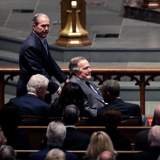 George Bush, Obamas, Clintons at Barbara Bush's Funeral