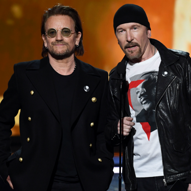 Recording artists Bono and The Edge of U2 speak onstage during the 60th Annual GRAMMY Awards at Madison Square Garden on January 28, 2018 in New York City.