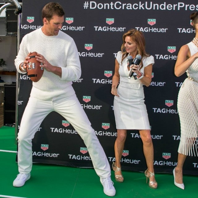 Tom Brady, Geri Halliwell Horner and Bella Hadid attend the TAG Heuer event during the Formula 1 Grand Prix de Monaco on May 26, 2018 in Monaco, Monaco.