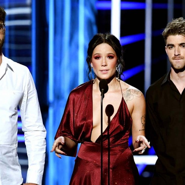 Andrew Taggart and Alex Pall of The Chainsmokers with Halsey at the 2018 BBMAs