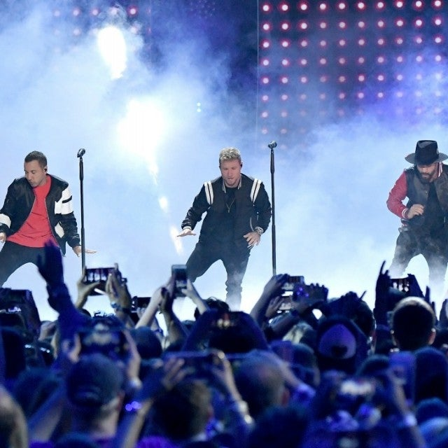 Nick Carter, Howie Dorough, Brian Littrell, AJ McLean and Kevin Richardson   of Backstreet Boys perform onstage at the 2018 CMT Music Awards at   Bridgestone Arena on June 6, 2018 in Nashville, Tennessee.