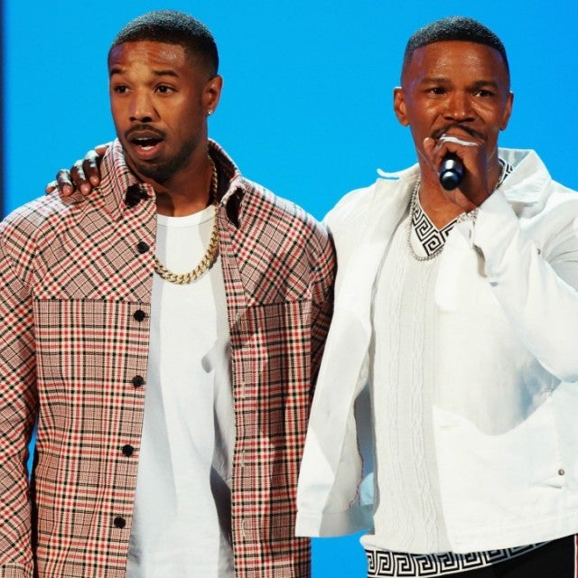 Jamie Foxx and Michael B. Jordan on stage at 2018 BET Awards