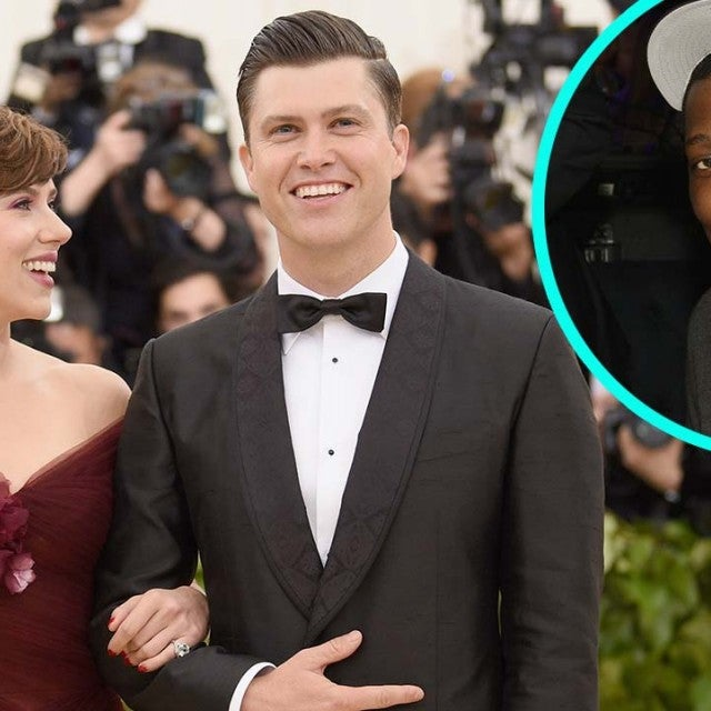 Scarlett Johansson and boyfriend Colin Jost with 'SNL' co-star Michael Che (inset)