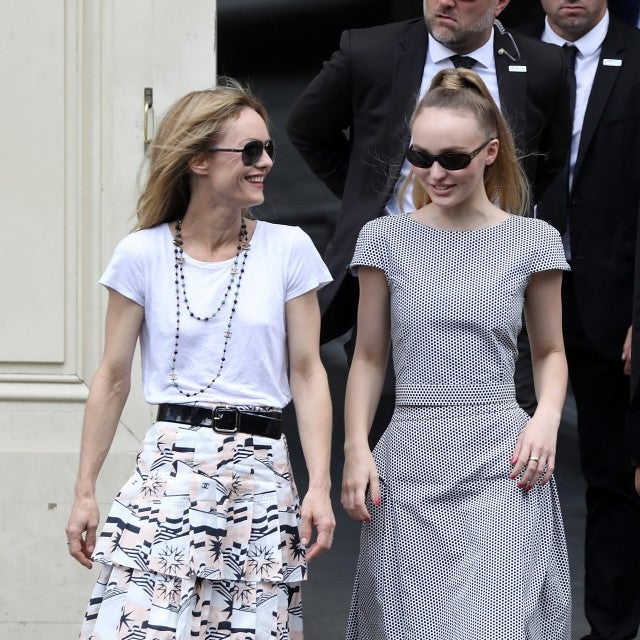 Vanessa Paradis and her daughter Lily-Rose Depp attend the Chanel Haute Couture Fall Winter 2018/2019 show as part of Paris Fashion Week on July 3, 2018 in Paris, France.