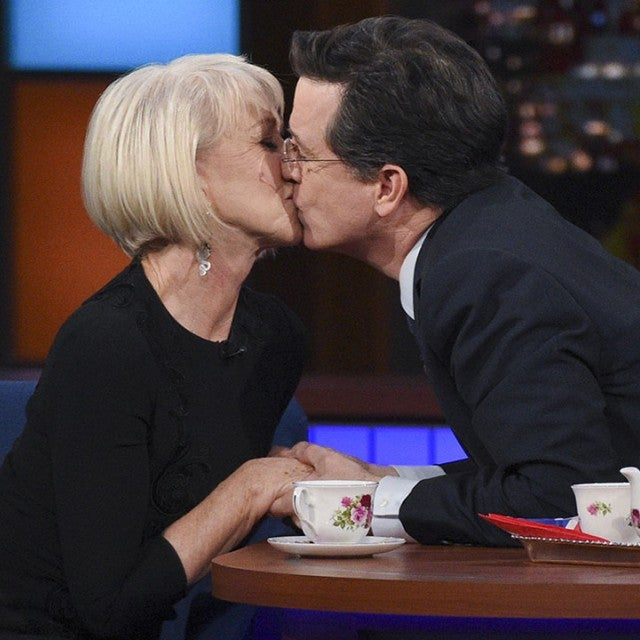 Helen Mirren and Stephen Colbert