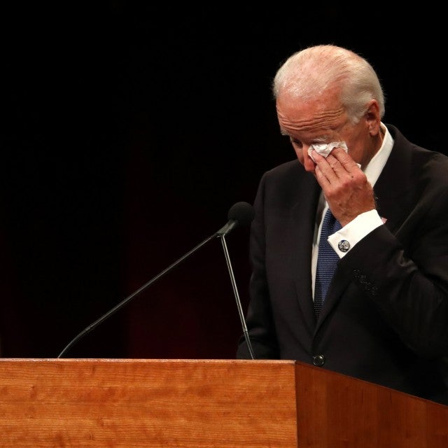 Joe Biden wipes his eye as he speaks during a memorial service to celebrate the life of of U.S. Sen. John McCain at the North Phoenix Baptist Church on August 30, 2018 in Phoenix, Arizona.